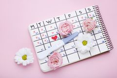 Pregnancy test with calendar and flowers. Pregnancy test with paper calendar and flowers on pink background royalty free stock photos