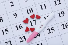 Pregnancy test. On paper calendar with red hearts royalty free stock photo