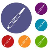 Pregnancy test with positive pregnant icons set Stock Photos