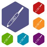 Pregnancy test with positive pregnant icons set Stock Photography