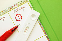 Pregnancy test with a positive result and female diary. Pregnancy test with a positive result on the background of the female weekly Royalty Free Stock Photography