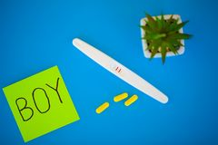 Pregnancy test. The result is positive with two strips. Treatment of infertility with pills, help in conceiving a child. Tablets. From pregnancy do not work stock photo