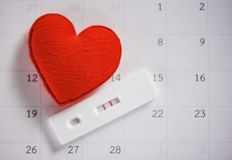 Pregnancy Tests Pregnant woman concept / positive result two lines planning a baby motherhood and healthcare stock photo