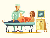 Pregnancy Ultrasound Screening Retro Cartoon Illustration. Late pregnancy ultrasound screening for birth weight prediction and fetal hart rate monitoring retro Royalty Free Stock Photography