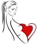 Pregnancy vector emblem Royalty Free Stock Photo