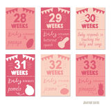 Pregnancy 28-33 weeks Vector design templates for journal cards Stock Photos