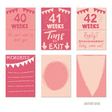 Pregnancy 40-42 weeks Vector design templates for journal cards,. Scrapbooking cards, greeting cards, gift cards, patterns, blogging. Planner cards. Cute doodle Stock Photography