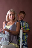 Pregnancy woman with boy Stock Photography