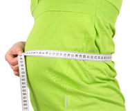 Pregnancy woman measures the stomach. Measuring Royalty Free Stock Photos