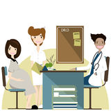 Pregnancy woman visiting doctor in clinic, expectant parents,vector illustration vector illustration