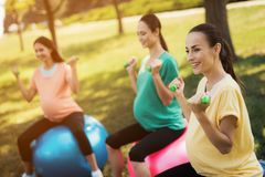 Pregnancy yoga. Three pregnant women are engaged in fitness in the park. They sit on balls for yoga stock images