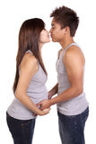 Pregnant About To Kiss Stock Photo