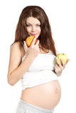 Pregnant with apples Royalty Free Stock Photos