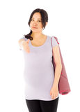 Pregnant asian woman isolated on white hand shake Stock Image