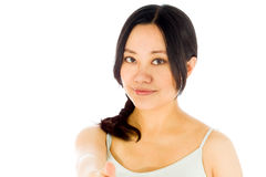 Pregnant asian woman isolated on white hand shake Stock Photos