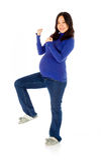 Pregnant asian woman isolated on white happy Stock Photos