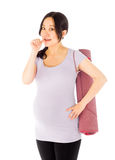 Pregnant asian woman isolated on white nervous Stock Photography