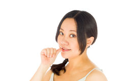 Pregnant asian woman isolated on white nervous Royalty Free Stock Photo