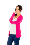 Pregnant asian woman isolated on white nervous Stock Photos