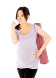 Pregnant asian woman isolated on white showing Stock Photos