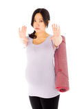 Pregnant asian woman isolated on white stop halt Royalty Free Stock Photography