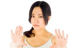 Pregnant asian woman isolated on white stop halt Royalty Free Stock Photos