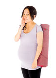 Pregnant asian woman isolated on white talking Stock Image