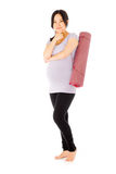 Pregnant asian woman isolated on white thinking Stock Image