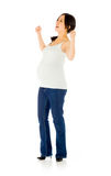 Pregnant asian woman isolated on white victory Stock Photo