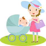 Pregnant and baby. Illustration art Royalty Free Stock Image