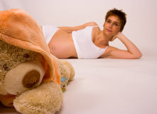 Pregnant with bear Royalty Free Stock Photos
