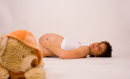 Pregnant with bear Royalty Free Stock Images