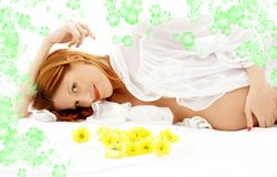 Pregnant beauty with flowers #2 Stock Photo