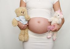 Pregnant belly - boy or girl? Stock Image