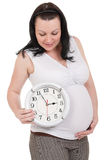 Pregnant belly clock Royalty Free Stock Photography