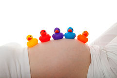 Pregnant belly with colorful rubber ducks Royalty Free Stock Photo