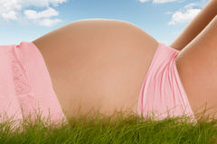 Pregnant belly in grass Royalty Free Stock Photo