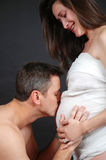 Pregnant Belly Kiss Royalty Free Stock Photos
