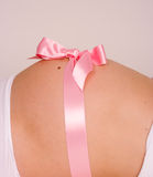Pregnant Belly Presented As A Gift Royalty Free Stock Images