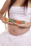 Pregnant blocks surprise Royalty Free Stock Photos