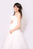 Pregnant bride. A pregnant bride on a white background Stock Photos
