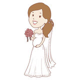Pregnant Bride holding flower Bouquet Royalty Free Stock Photography