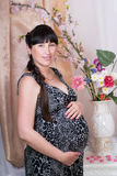 Pregnant brunnete woman in a room Stock Photos