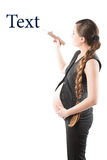 Pregnant business woman  writes pencil Royalty Free Stock Images