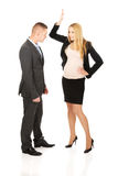 Pregnant businesswoman arguing with her partner Stock Image