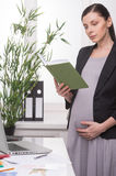 Pregnant businesswoman with book. Royalty Free Stock Image