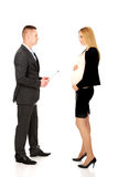 Pregnant businesswoman talking with her partner Royalty Free Stock Image