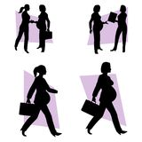 Pregnant Businesswoman At Work. An illustration featuring a busy pregnant mom-to-be in various positions interacting with others and walking with briefcase in Stock Images