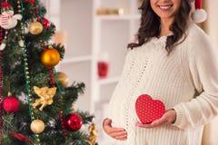 Pregnant celebrate Christmas Stock Photography