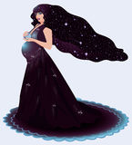 Pregnant cosmos woman Stock Images